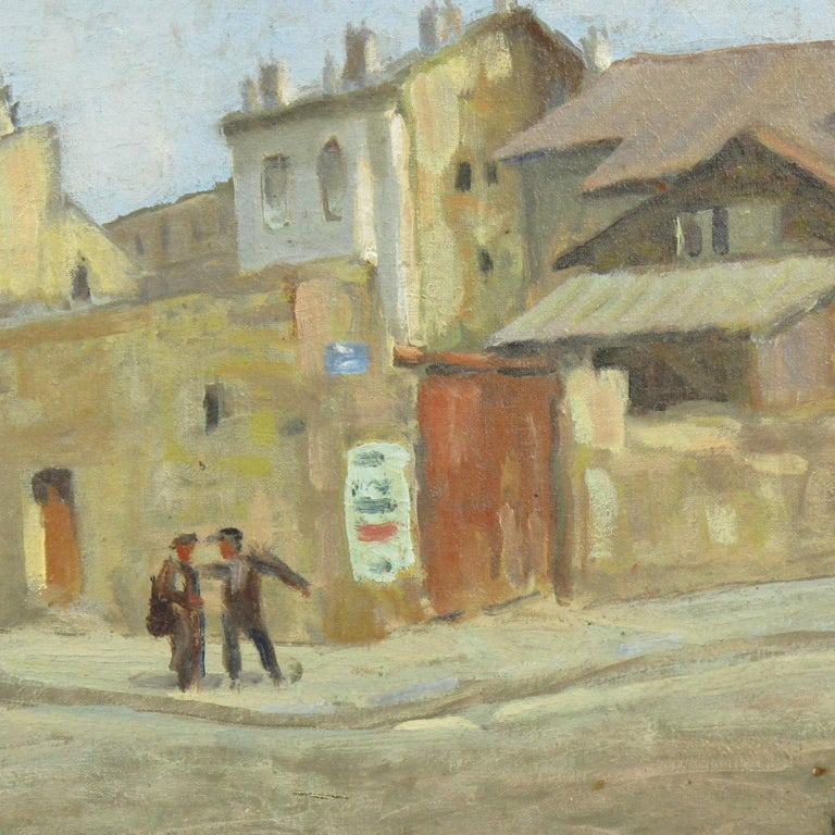 French Urban Street Scene Oil on Canvas Painting by Renzo Gori For Sale 7