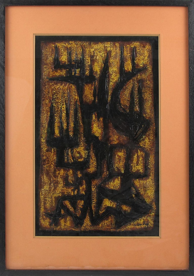 Mid-Century modernist mix-media abstract composition signed by American artist Canthi and dated 1961. Brutalist design with contrasting colors of black, brown, yellow, and orange. Original vintage black wood frame with large orange matte and glass