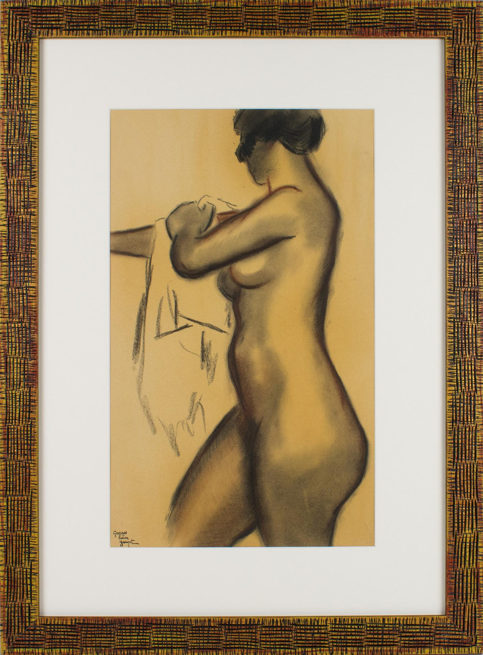 Female Nude Study Charcoal and Red Chalk Drawing by Georges Lucien Guyot
