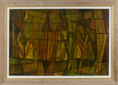 St Augustine Forest Post-Cubist Oil on Canvas Painting by Hellier