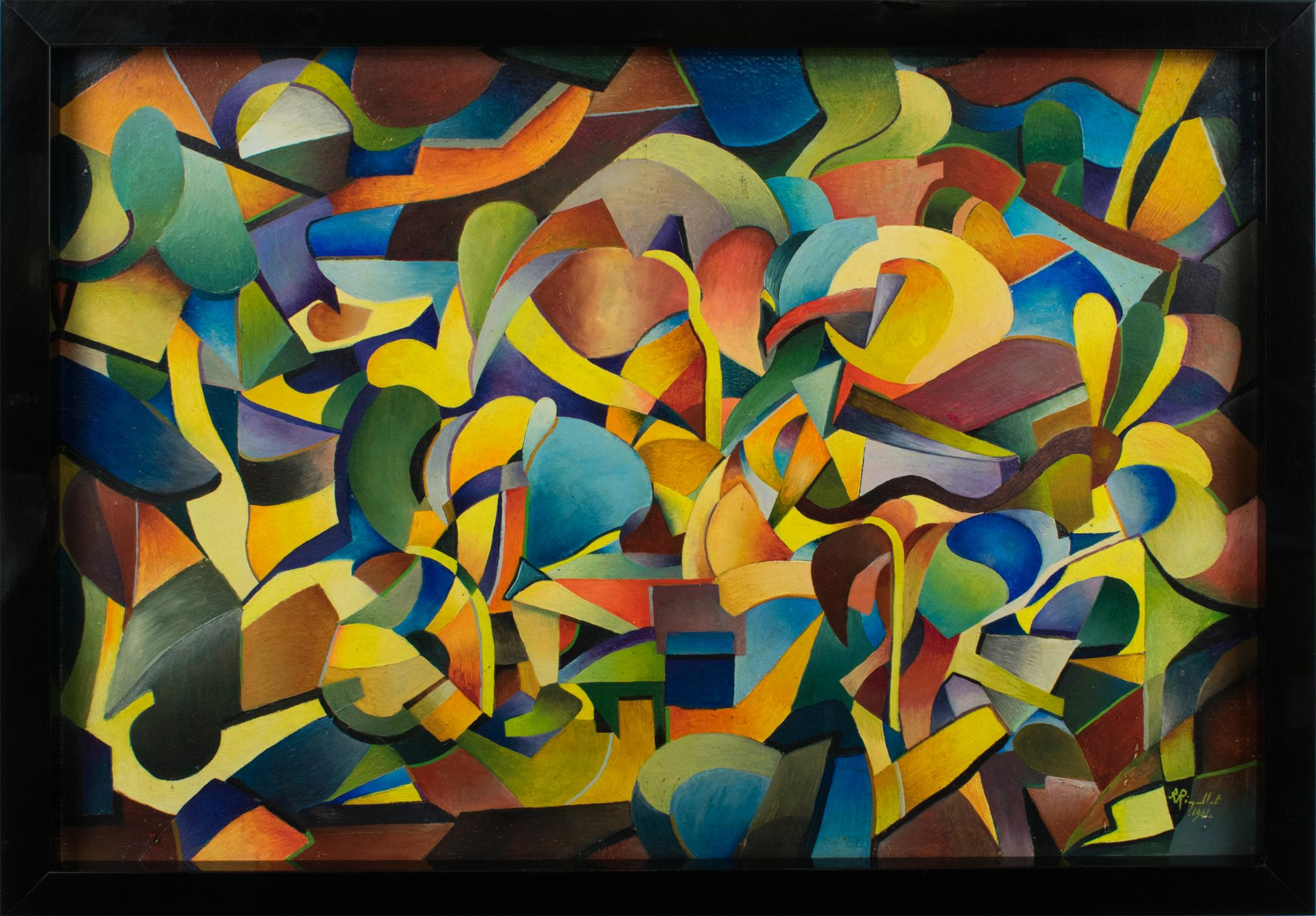 """""""Idole"""" Colorful Post-Cubist Oil Painting by A. Rigollot"""