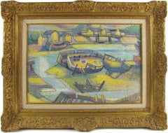 Pointillism Seaside Old Boats Cemetery Oil on Canvas Painting by Georges Zelter