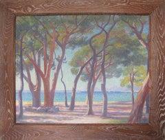French Pointillist Mediterranean Seascape Oil on Canvas Painting by Louis Azais