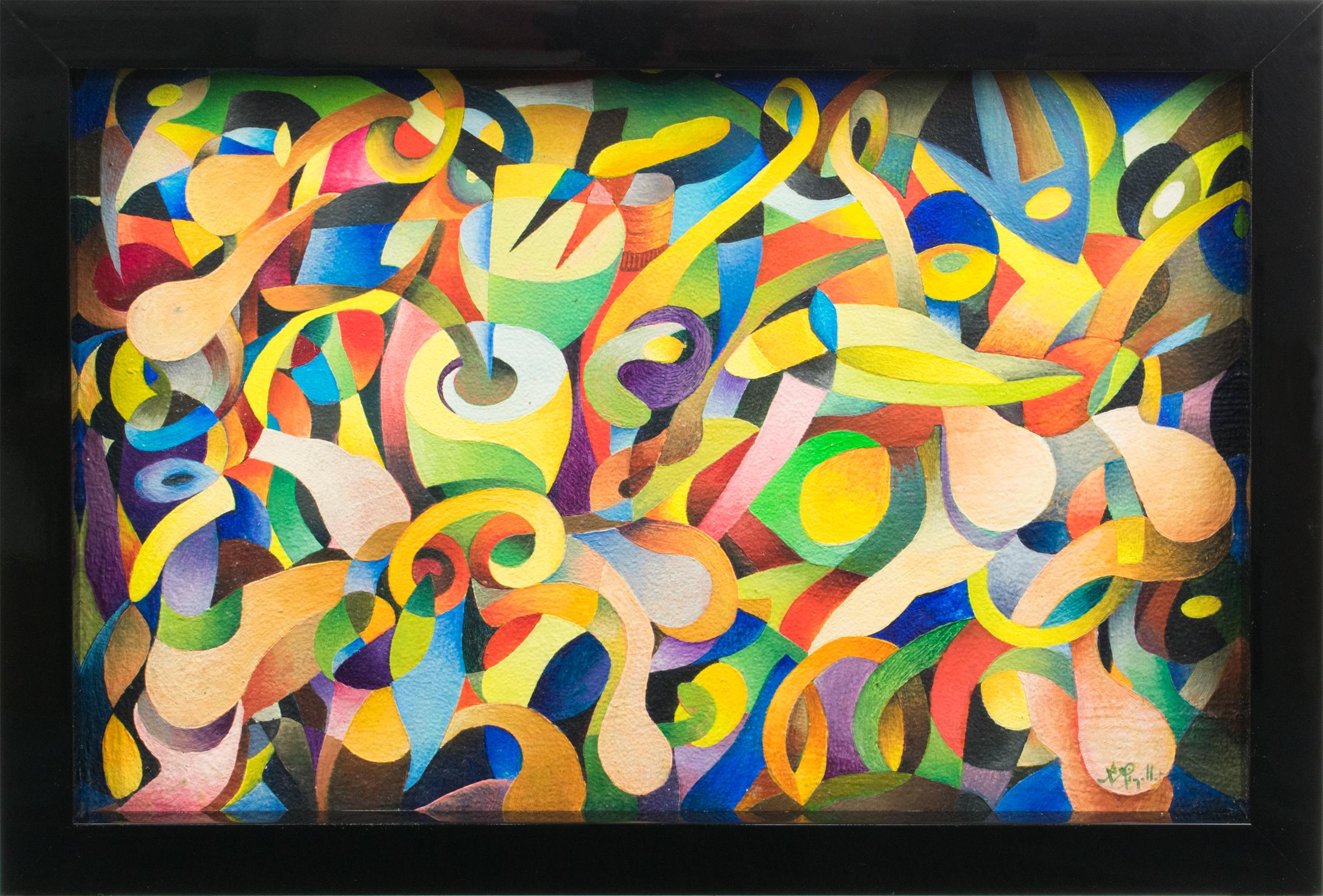 """""""Twist"""" Colorful Abstract Post-Cubist Oil Painting by A. Rigollot"""