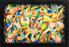 """Twist"" Colorful Abstract Post-Cubist Oil Painting by A. Rigollot"