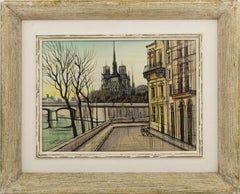 Notre Dame Cathedral and Ile Saint Louis Oil on Canvas Painting by Paul Lambert