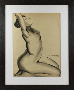 1920s Female Nude Study Black Pencil Drawing by G. Debotoiyche