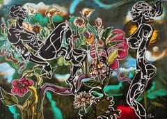 "Luis Miguel Valdes, ""Garden"" oil on canvas, Cuban art"