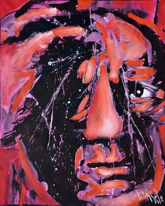 "Luis Miguel Valdes, ""Picasso"" III, acrylic on canvas, Cuban art, portrait Pablo"