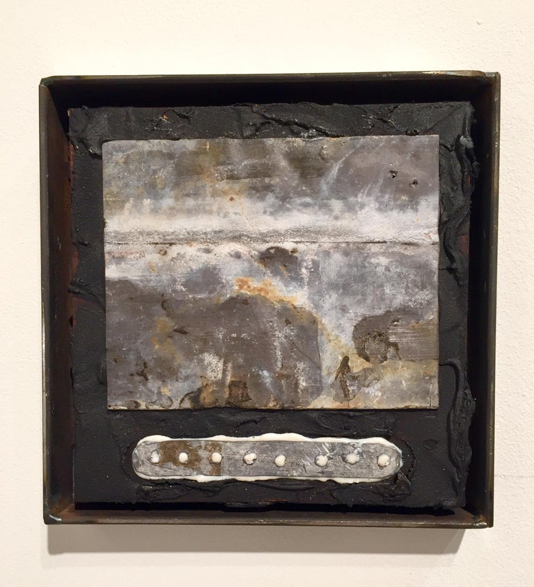 A small wall sculpture representing a panoramic landscape were the earth's surface and thy sky appear to meet, it is not a replication of a particular observation but simple in form, tactile in material and compact in scale, it's the artist's intent