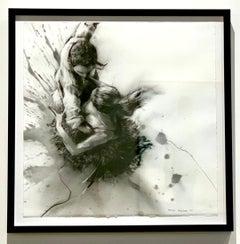 """""""Splash Down"""" charcoal on rag paper by Allen Bentley"""
