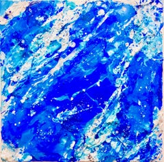 """Blue Oblique"" abstract, acrylic paint skin painting by Anne Novado"