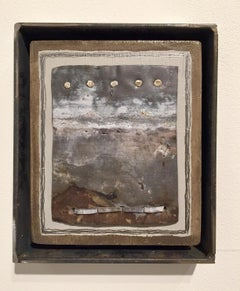 """5 Moons, 4 Stitches"" by Stephen Datz wall sculpture, mixed media landscape"