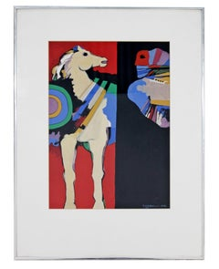 Contemporary Modern Framed Original Gouache on Paper Painting By Dia Azzawi