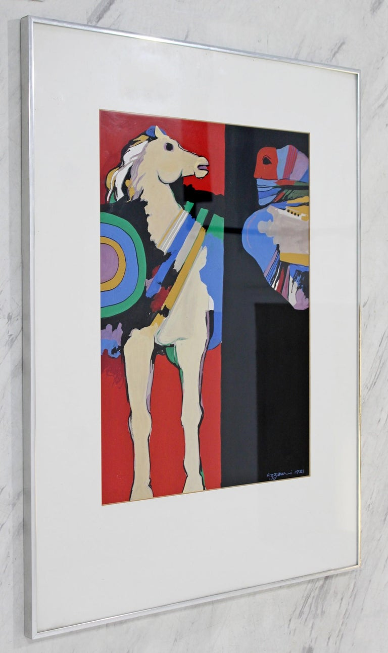 Contemporary Modern Framed Original Gouache on Paper Painting By Dia Azzawi For Sale 1