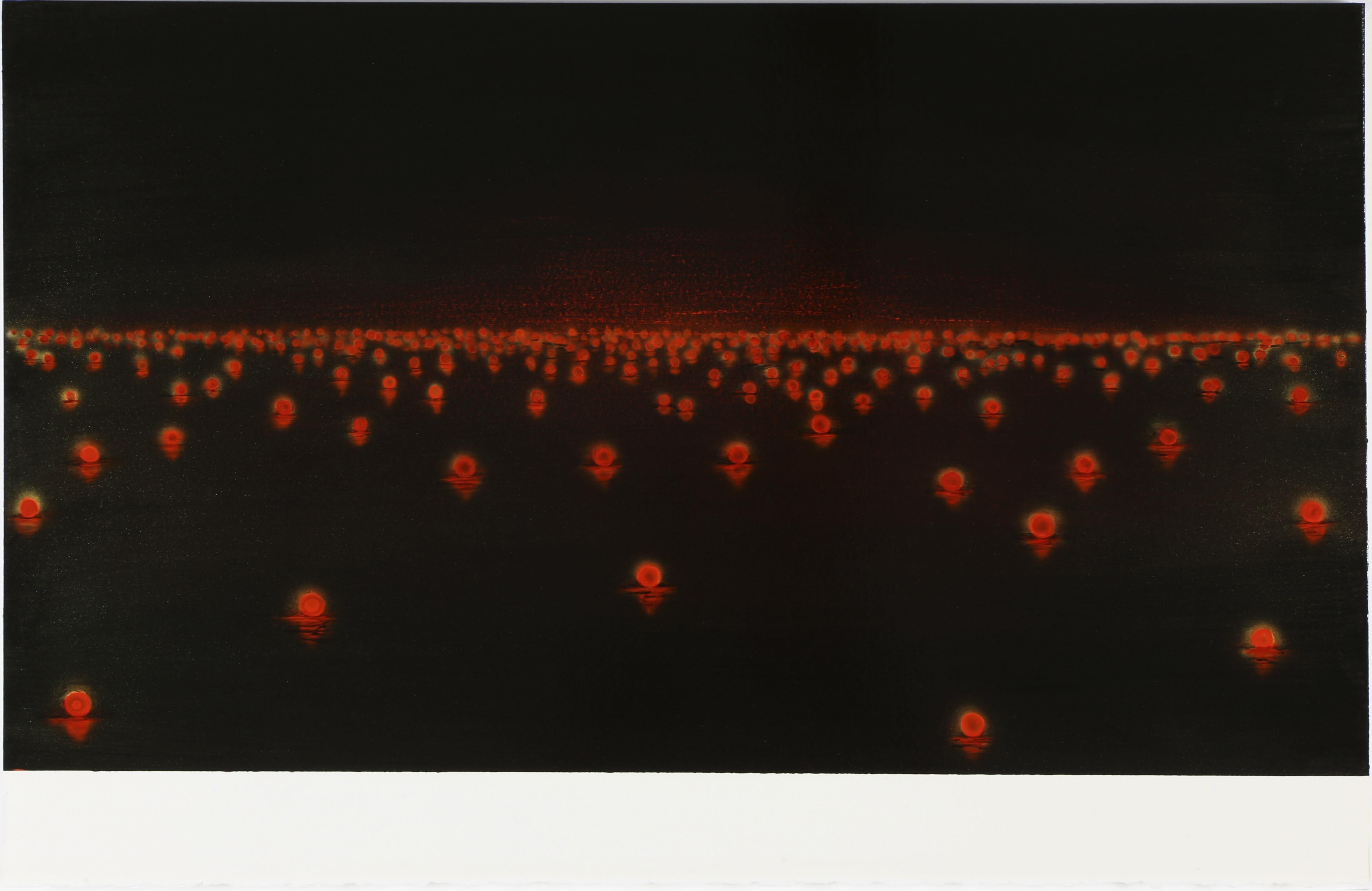 Katsumi Hayakawa, Red Lights, Acrylic on Paper on Wood, 2017