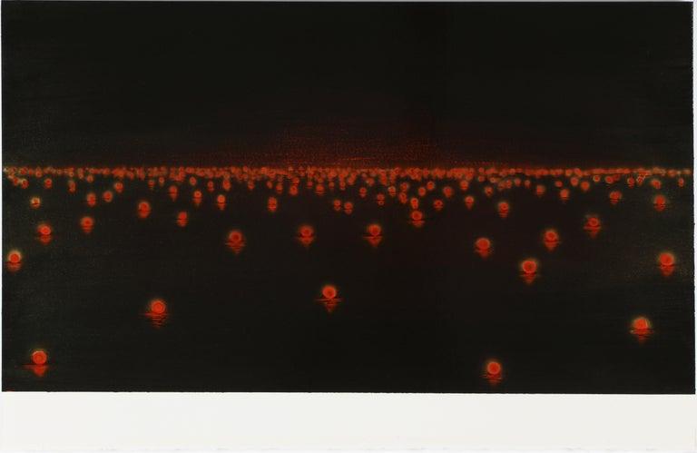 Katsumi Hayakawa, Red Lights, Acrylic on Paper on Wood, 2017 - Painting by Katsumi Hayakawa