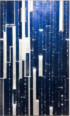 Katsumi Hayakawa, Nuantique Blue, Mixed Media Painting on Panel, 2019