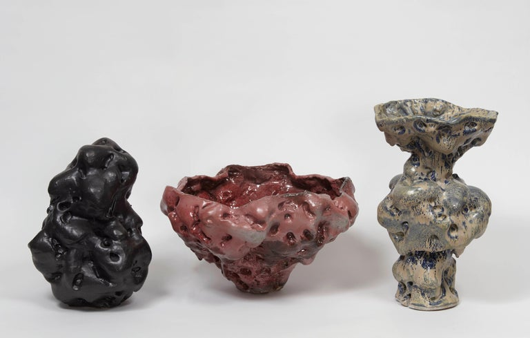 Donna Green, Byrd, Stoneware, Slip, and Glazes, 2015 - Gray Abstract Sculpture by Donna Green