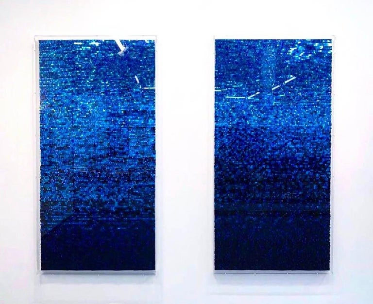 Katsumi Hayakawa, Blue Reflection, Mixed Media, 2018; mirrored surfaces, paper For Sale 2