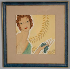 Art Deco Woman with Grapes
