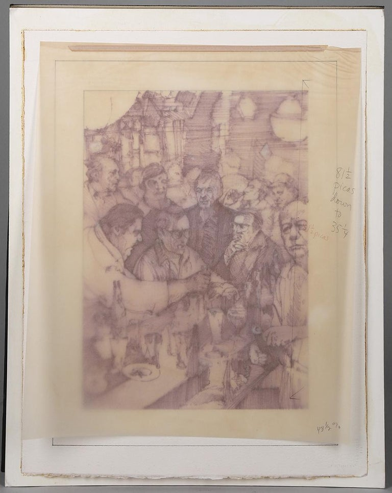 This is a mixed media, watercolor and pen & ink on artist's paper illustration by Steven Stroud. A sketchily composed illustration, it shows a group of men gathered together with drinks inside a crowded bar.  This illustration appears as a full page
