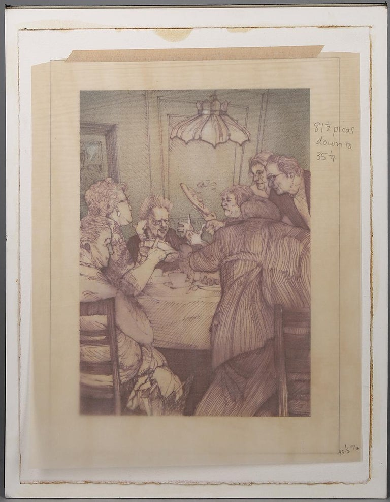 This is a mixed media, watercolor and pen & ink on artist's paper illustration by Steven Stroud. A sketchily composed illustration, it shows a group gathered around a table having what looks to be a very chaotic meal.  This illustration appears as a