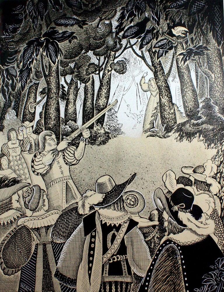 Winold Reiss Figurative Art - Pilgrim Hunting Scene