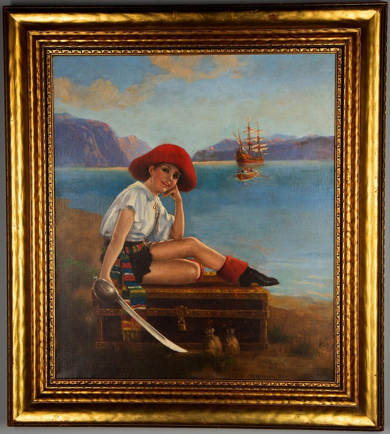 Robert Atkinson Fox Portrait Painting - Pirate Pin-Up Girl with Treasure Chest