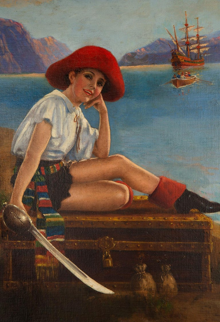 Pirate Pin-Up Girl with Treasure Chest - Black Portrait Painting by Robert Atkinson Fox