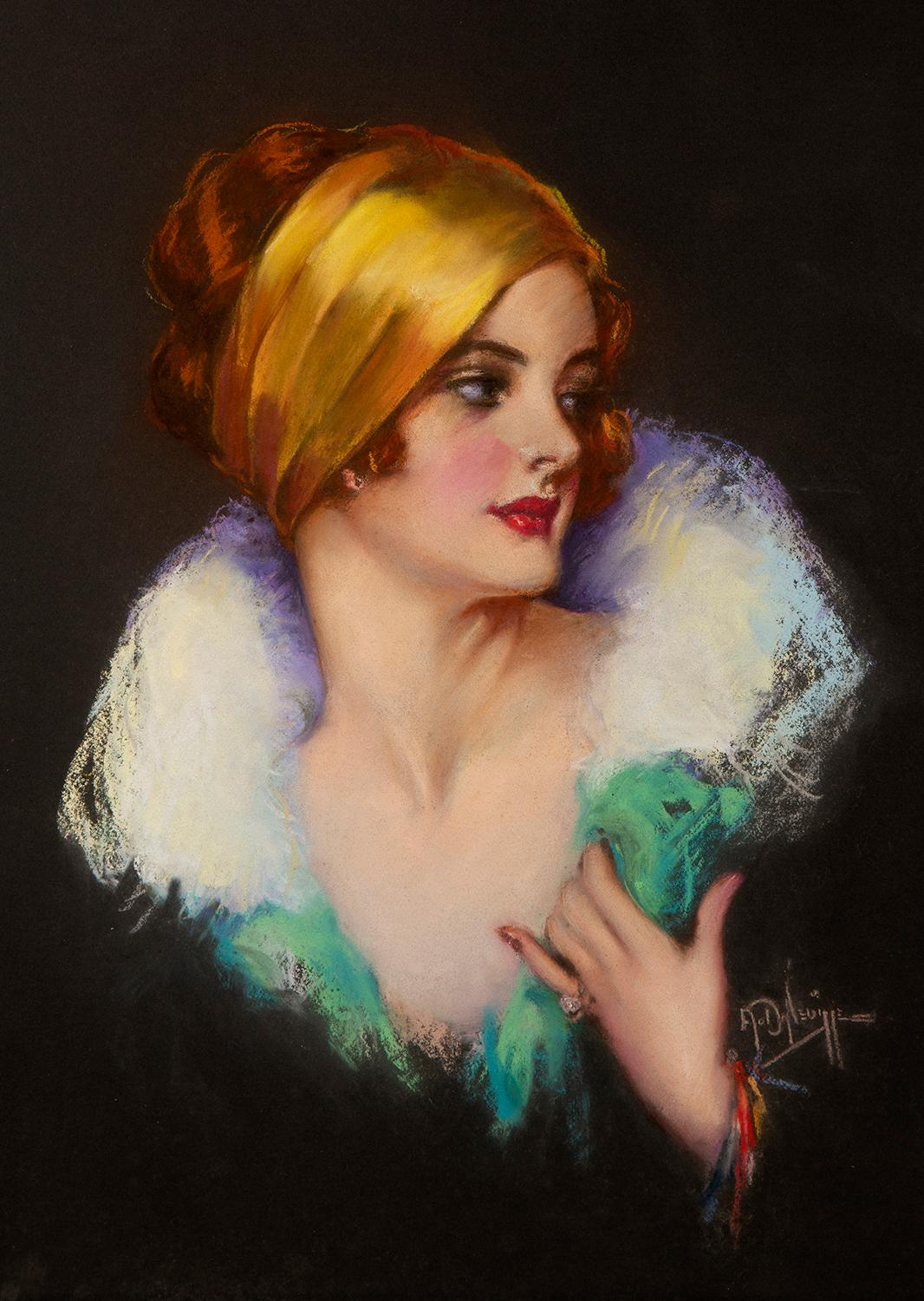 Red Headed Flapper In Gold Scarf