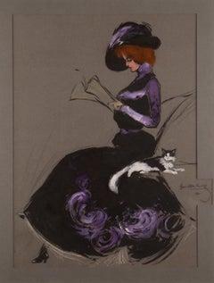 Reading Victorian Maiden with Kitten