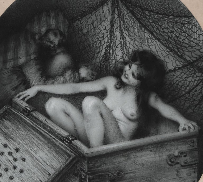 With great attention to detail and an exquisite sense of realism, this charcoal illustration from artist & illustrator Raphaël Kirchner is an exotic display of Middle Eastern themed eroticism, mystery and intrigue.  Kirchner has painstakingly