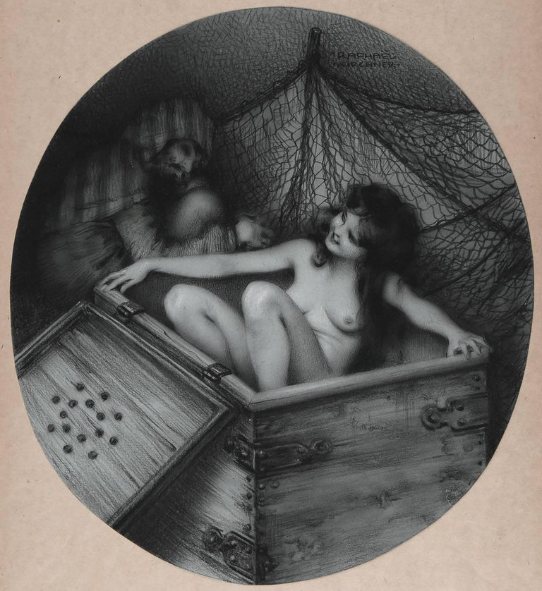 One Thousand and One Nights - The Surprise - Brown Nude by Raphael Kirchner