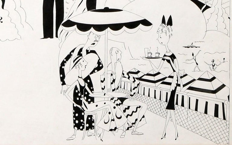 An exciting Art Deco / Great Depression era pen and ink illustration by the social satirist Anne Harriet Fish, this was published in an issue of the British humor magazine