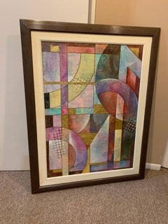 Large Contemporary Abstract Mixed-Media Painting with Gold Leaf, Richard Hall