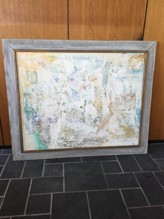 Mid Century Modern  Large  Abstract Oil Painting 1976  by Ann Chase