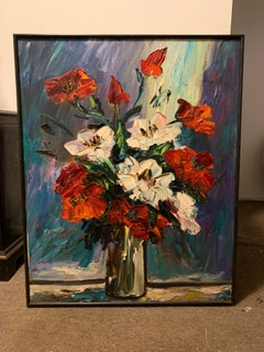 Large Expressionist Oil Painting, Mid-Century Still Life Flowers, Irene Smoller