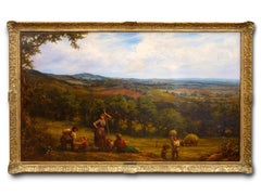 Large 19th Century Landscape painting 'Harvesting' by Linnell.