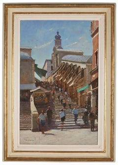 Oil Painting, Venice 'Steps of the Rialto' by Michael Felmingham