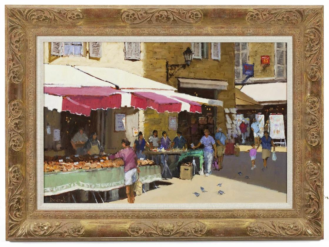 Oil Painting, Continental Street Scene by Fred Beckett