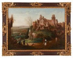 Oil painting on board Castle in Landscape by Johann Dittman 1822