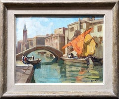 Oil Painting Venice by Knut Normann, Oil on board