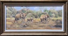 Oil Painting 'African Elephants' by Tony Wooding (b1969)
