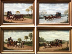 Oil paintings, Coaching scenes, Circle of Philip Rideout (1842-1920)