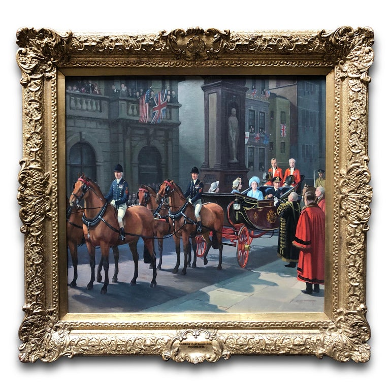 Leigh Pemberton Figurative Painting - Oil on Canvas Painting, Royal Family at Temple Bar, VE Celebrations, London