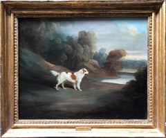 Oil Painting, Landscape with Spaniel by Water by David Dalby (British 1794-1836)