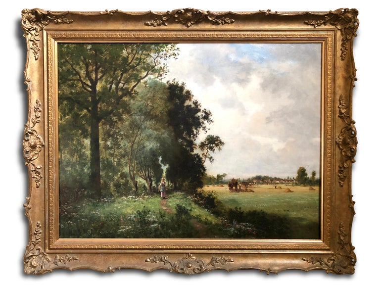 """Oil Painting, Landscape by Ernest Guillemer ( French 1839-1913)  'Pastoral Scene with Harvesters', signed by the artist.  Ernest Guilemer exhibited at the Paris Salon 1864-1890 & is represented in the Museum D' Orsay Paris.  Overall size: 27"""" x 34"""""""