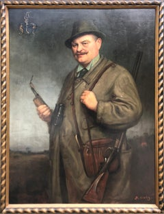 Oil Painting, Portrait of a Hunter by George B Liebig (German 1873-1937)