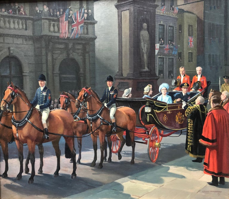 Oil on Canvas Painting, Royal Family at Temple Bar, VE Celebrations, London - Black Figurative Painting by Leigh Pemberton